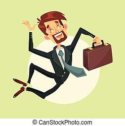 feliz, homem saltando