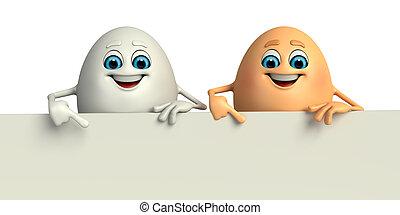 feliz, huevo, con, señal