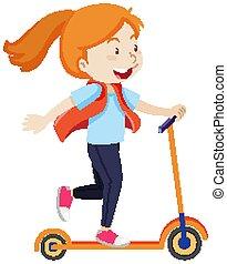 feliz, humor, niña, patineta, equitación, aislado, estilo, caricatura