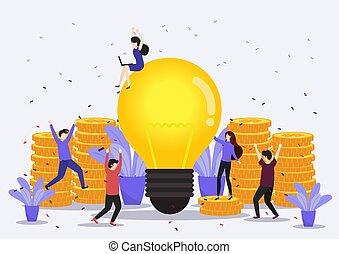 feliz, ilustração, celebra, success., equipe negócio, vetorial