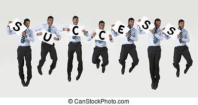 feliz, indianas, homem negócio, segurando, sinal, soletrando, sucesso