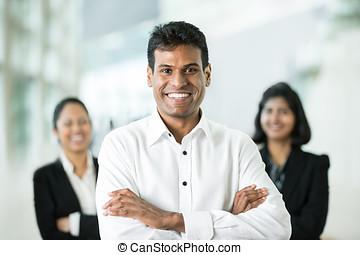 feliz, indio, empresa / negocio, team.