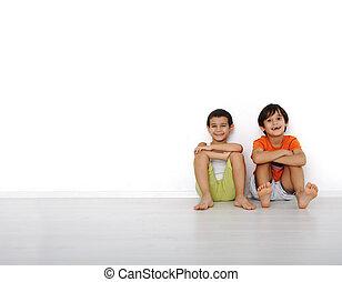 feliz, indoor, crianças, lar, sentando