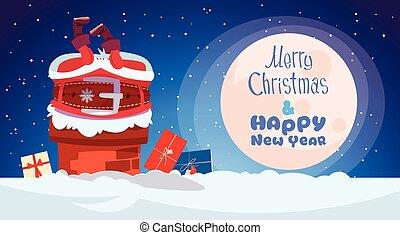 feliz, inverno, claus, saudação, aderido, cartão, santa, ano, novo, feriado, bandeira, natal, chaminé, feliz