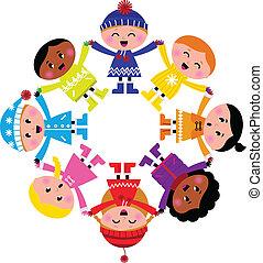feliz, invierno, aislado, círculo, caricatura, niños, blanco