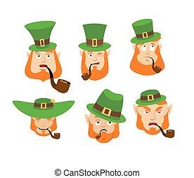 feliz, irlandês, 's, st.patrick, beard., winks., set., duende, surpreendido, sad., zangado, day., sleeping., emotions., irlanda, leprechaun, feriado, anão, vermelho, emoji