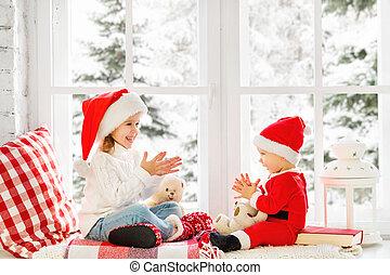 feliz, irmã, irmão, inverno, natal, família, janela, crianças