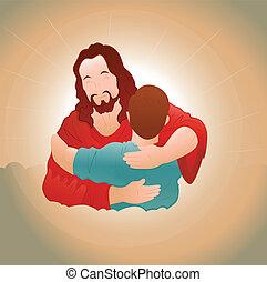 feliz, jesús, con, niño joven