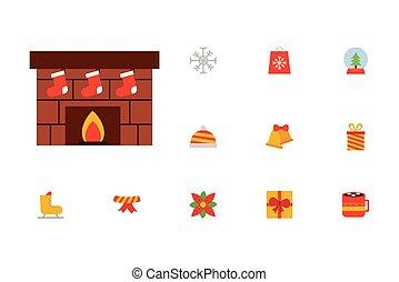 feliz, jogo, chaminé, natal, ícones