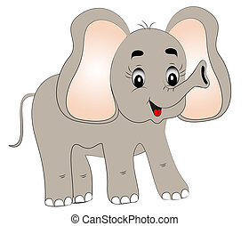 feliz, jovem, elefante