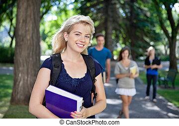 feliz, jovem, faculdade, menina