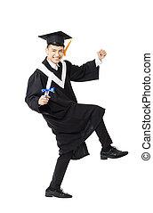 feliz, jovem, macho, faculdade, graduação, dançar