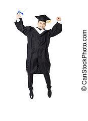 feliz, jovem, macho, faculdade, graduação, pular