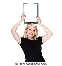 feliz, jovem, mulher negócio, mostrando, em branco, signboard