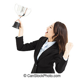 feliz, jovem, mulher negócio, mostrando, troféu