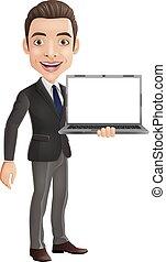 feliz, jovem, segurando, laptop, caricatura, homem negócios