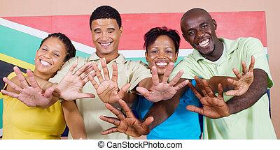 feliz, joven, africanos