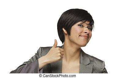 feliz, joven, carrera mezclada, mujer, con, pulgares arriba, blanco