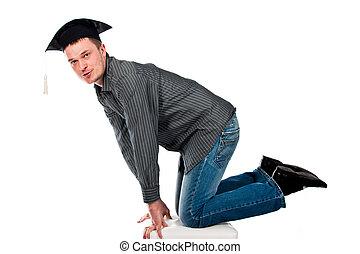 feliz, joven, en, tapa graduación