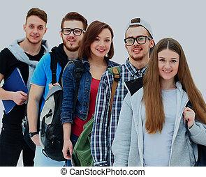 feliz, joven, grupo de las personas, posición, juntos.