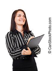 feliz, joven, mujer de negocios, escritura, en, portapapeles