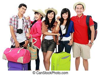 feliz, joven, vacaciones, gente