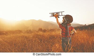 feliz, juego, niño, aviador, al aire libre, avión, viajar, sueños, piloto