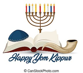 feliz, kippur, bandera, yom, shofar