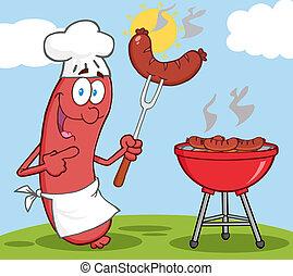 feliz, linguiça, cozinheiro, cozinheiro, em, churrasco