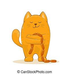 feliz, linguiças, gato