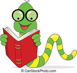 feliz, livro, leitura, verme