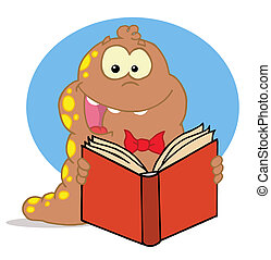 feliz, livro, ler, marrom