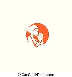 feliz, mãe, com, bebê, em, mãos, vetorial, illustration.