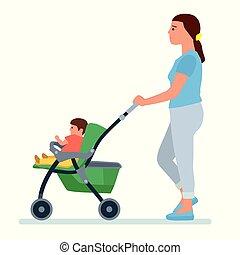 feliz, mãe, com, um, carruagem bebê, vetorial, ilustração