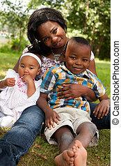 feliz, mãe, crianças, africano