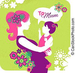feliz, mãe, day., cartão, com, bonito, silueta, de, mãe bebê