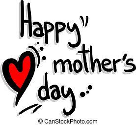 feliz, mãe, dia