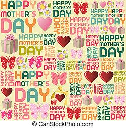 feliz, mãe, dia, padrão