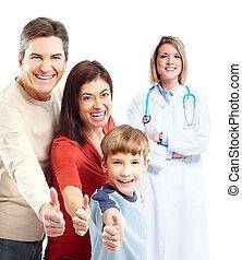 feliz, médico, patient., doutor familiar