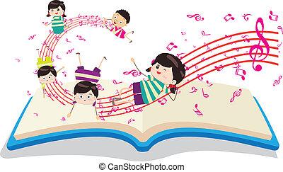 feliz, música, crianças, com, livro