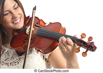 feliz, músico, jogando violino