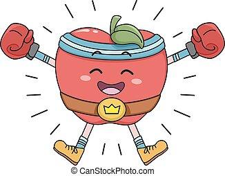 feliz, maçã, campeão, cinto