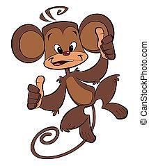 feliz, macaco, caricatura