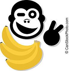 feliz, macaco
