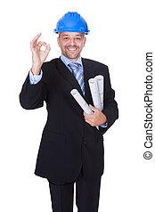 feliz, macho, arquitecto, ofrecimiento, apretón de manos
