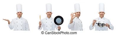 feliz, macho, chef, con, utensilios de la cocina, actuación, aprobar