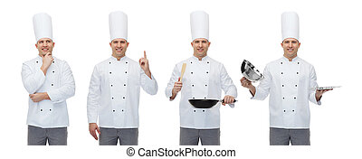 feliz, macho, chef, con, utensilios de la cocina