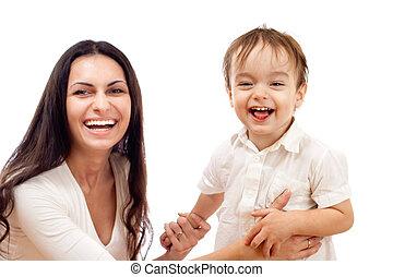 feliz, madre e hijo, juntos, aislado, blanco, (lens, es, enfocado, en, boy)