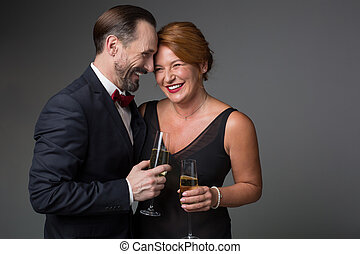 feliz, maduras, par amoroso, desfrutando, especiais, celebração