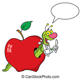 feliz, manzana, gusano, caricatura